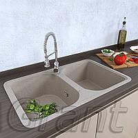 Двухчашевая гранитная кухонная мойка Grant Quadro terra, фото 1