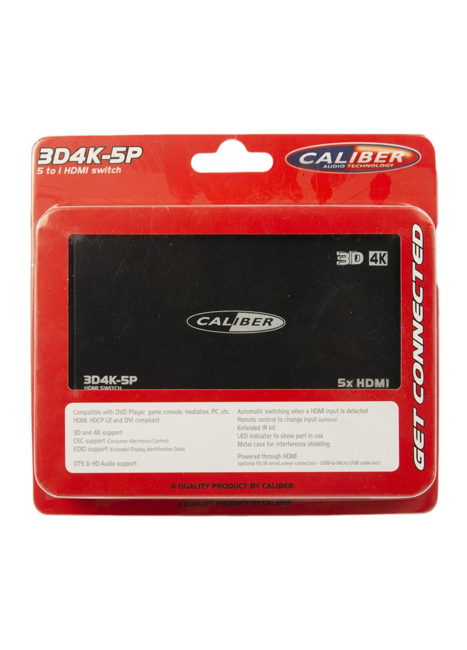 HDMI-переключатель 5 в 1  Caliber 12х6см Черный, Серый