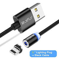 Магнитный кабель для зарядки RAXFLY RAX118554 с Lightning, microUSB или Type-C для iPhone, Samsung, Xiaomi