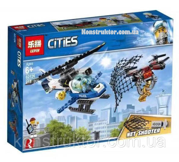 """Конструктор Lepin 02126 City """"Воздушная полиция: Погоня дронов"""" 215 деталей. Аналог LEGO City 60207"""