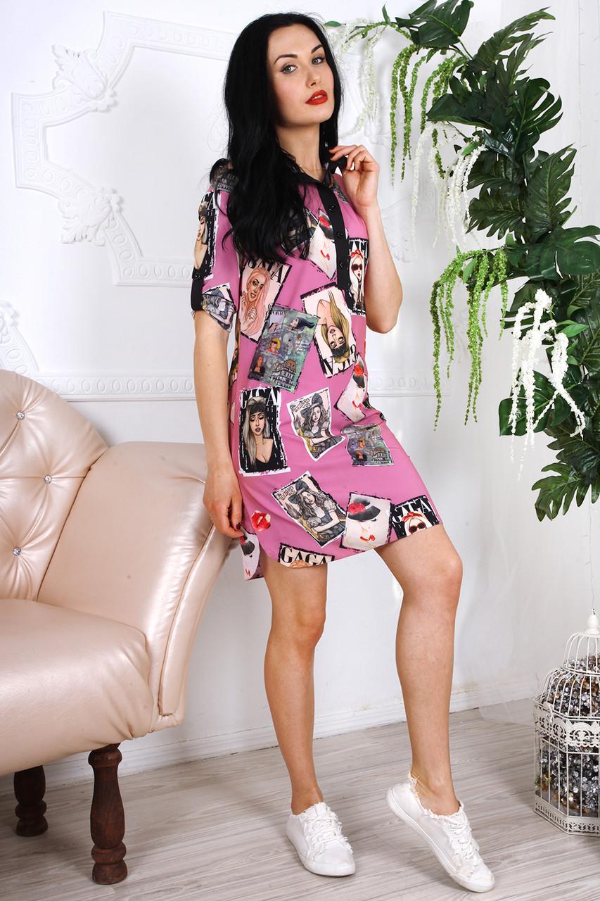 Короткое яркое легкое летнее платье из шифона 44-48