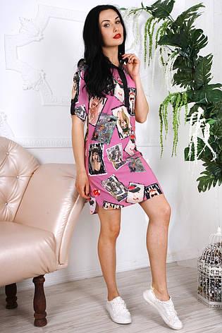 Короткое яркое легкое летнее платье из шифона 44-48, фото 2