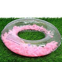 Круг надувной для плавания SR1910 с перьями, диаметр 70 см. Подходит для отдыха на море, в бассейне (4 цвета) Розовый