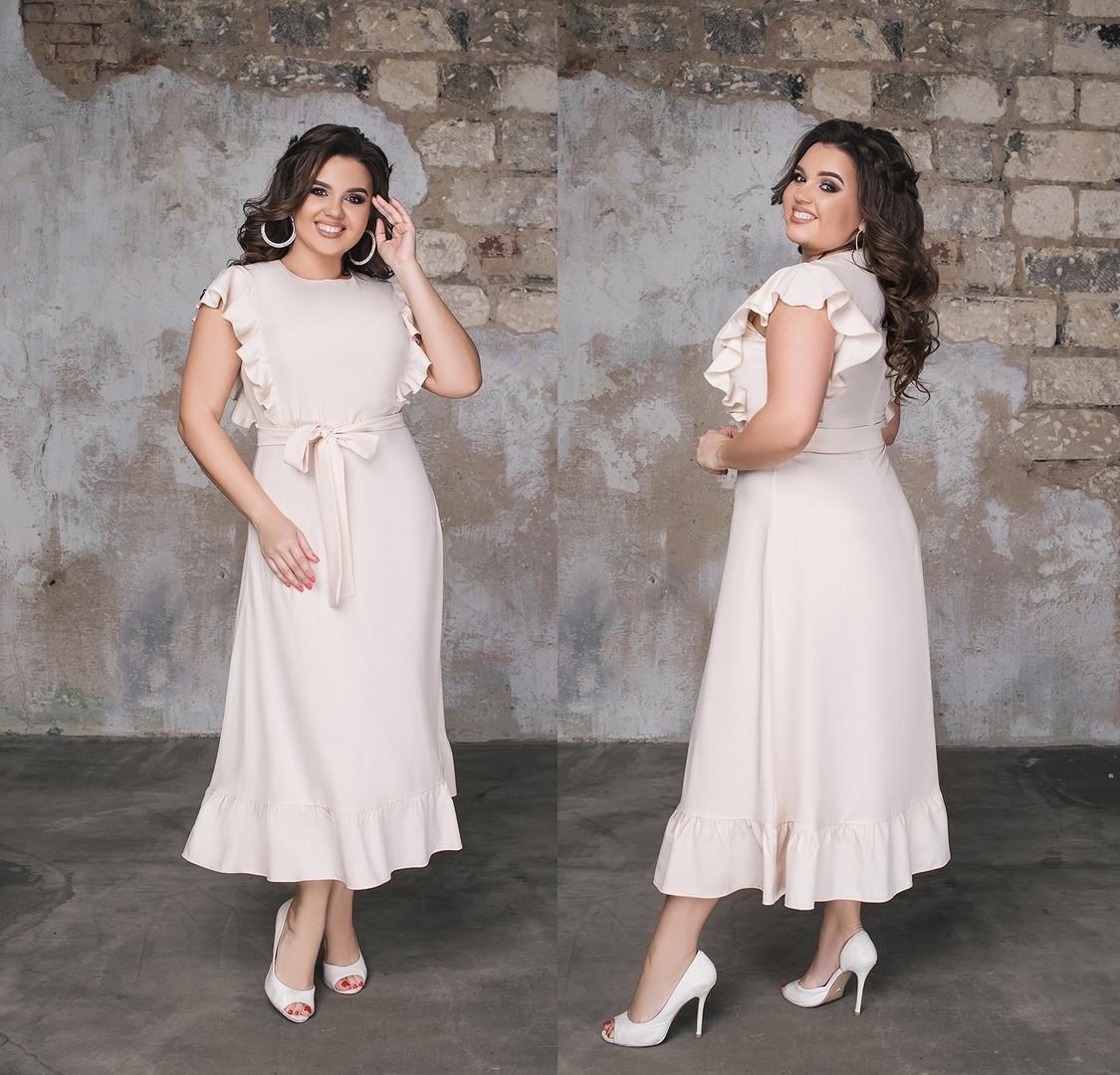 Красивое длинное женское платье под пояс с отделкой рюш  48-50, 52-54, 56-58