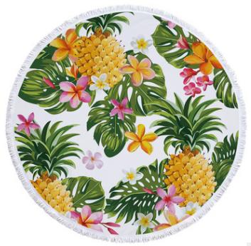 Пляжный коврик из микрофибры Ананас и тропические цветы
