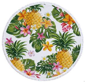 Пляжный коврик из микрофибры Ананас и тропические цветы, фото 2
