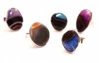 9080502 Кольцо с малым натуральным камнем АГАТ