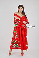 Платье красное вышитое, вышиванка лен, этно стиль бохо шик, вишите плаття вишиванка, вечернее платье в пол