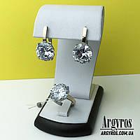 Серебряный комплект с крупными камнями ( родий ) от магазина Argyros