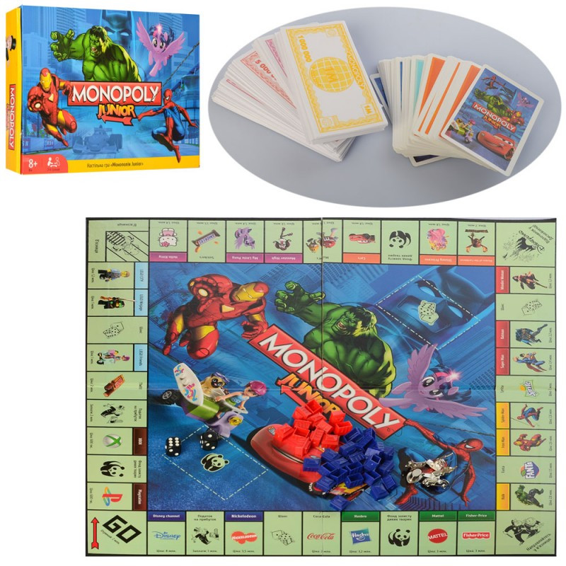 Настільна гра Монополія Junior, ігрове поле, фішки, картки, коробці, 39,5-26,5-5,5 см