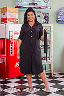 Большое платье-рубашка на пуговицах черное, фото 1