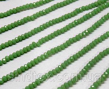 Бусины хрустальные (Рондель)  2х2мм пачка - 180-190 шт, цвет - зеленый непрозрачный