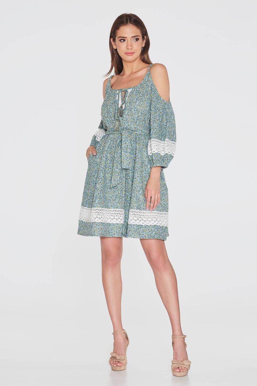 Платье NENKA 764-c01 LXL Бирюза / принт