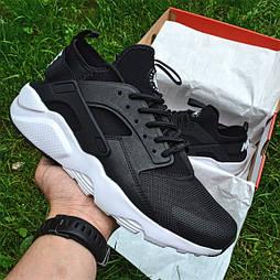 Мужские кроссовки Nike Air Huarache Ultra Black/white черные с белым 36-44рр.. Живое фото (Реплика ААА+)