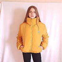 Короткая зимняя дутая куртка с капюшоном, желто-горчичного цвета, 42- 48