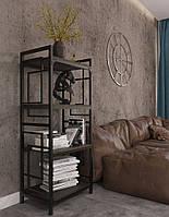 Стелаж Квадро 4 полиці серія Loft ТМ Метал-Дизайн
