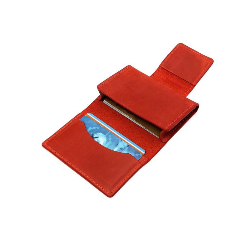 Визитница на магните Grande Pelle 302160 матовая кожа красная