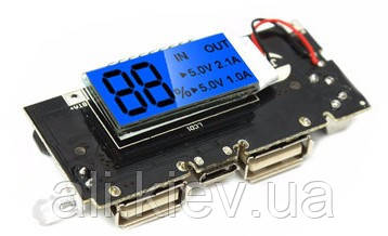 Плата Power Bank с экраном  LCD Зарядка Li-ion 4.2V, Выход 2USB 5V 1A-2A