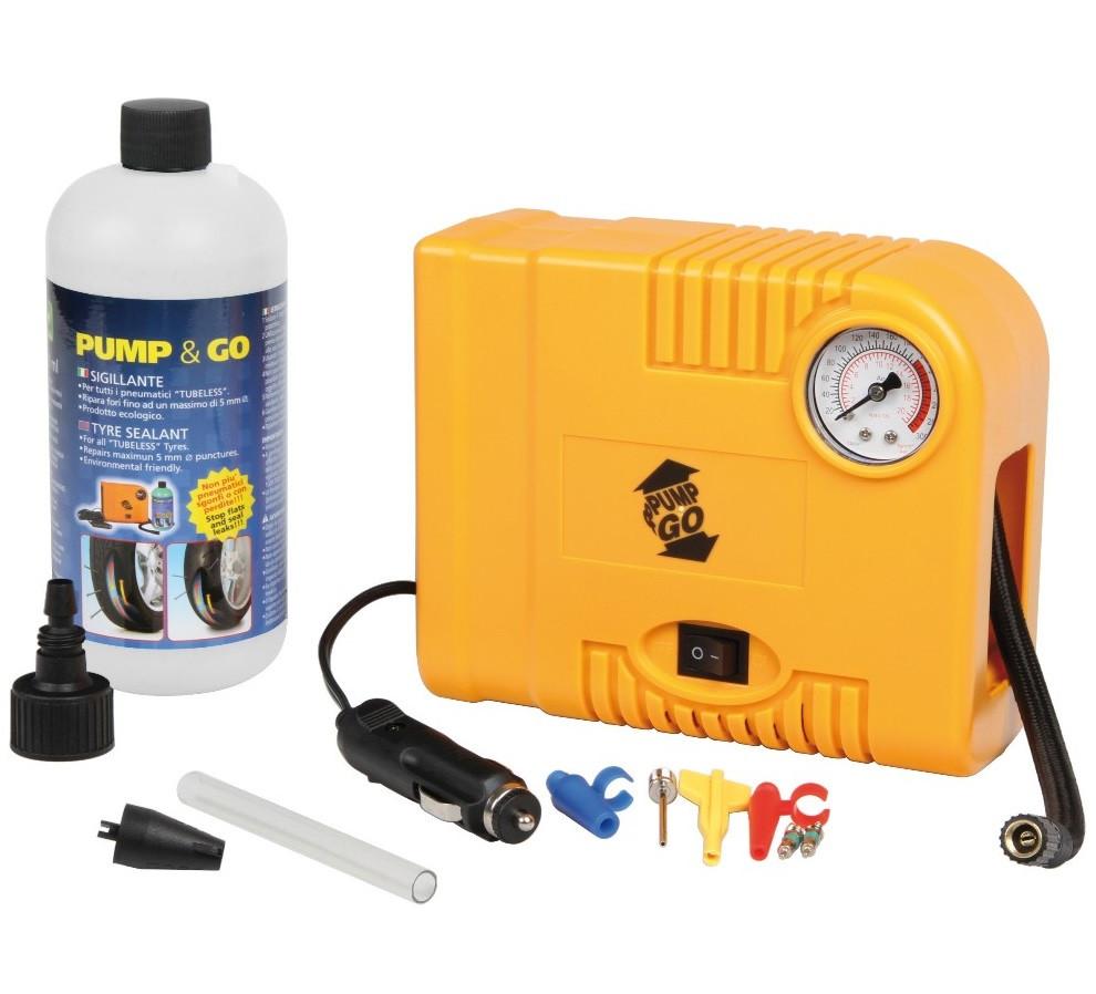 Оригинальный автомобильный компрессор Pump&Go (Италия) + балон герметика (ремонтный комплект)