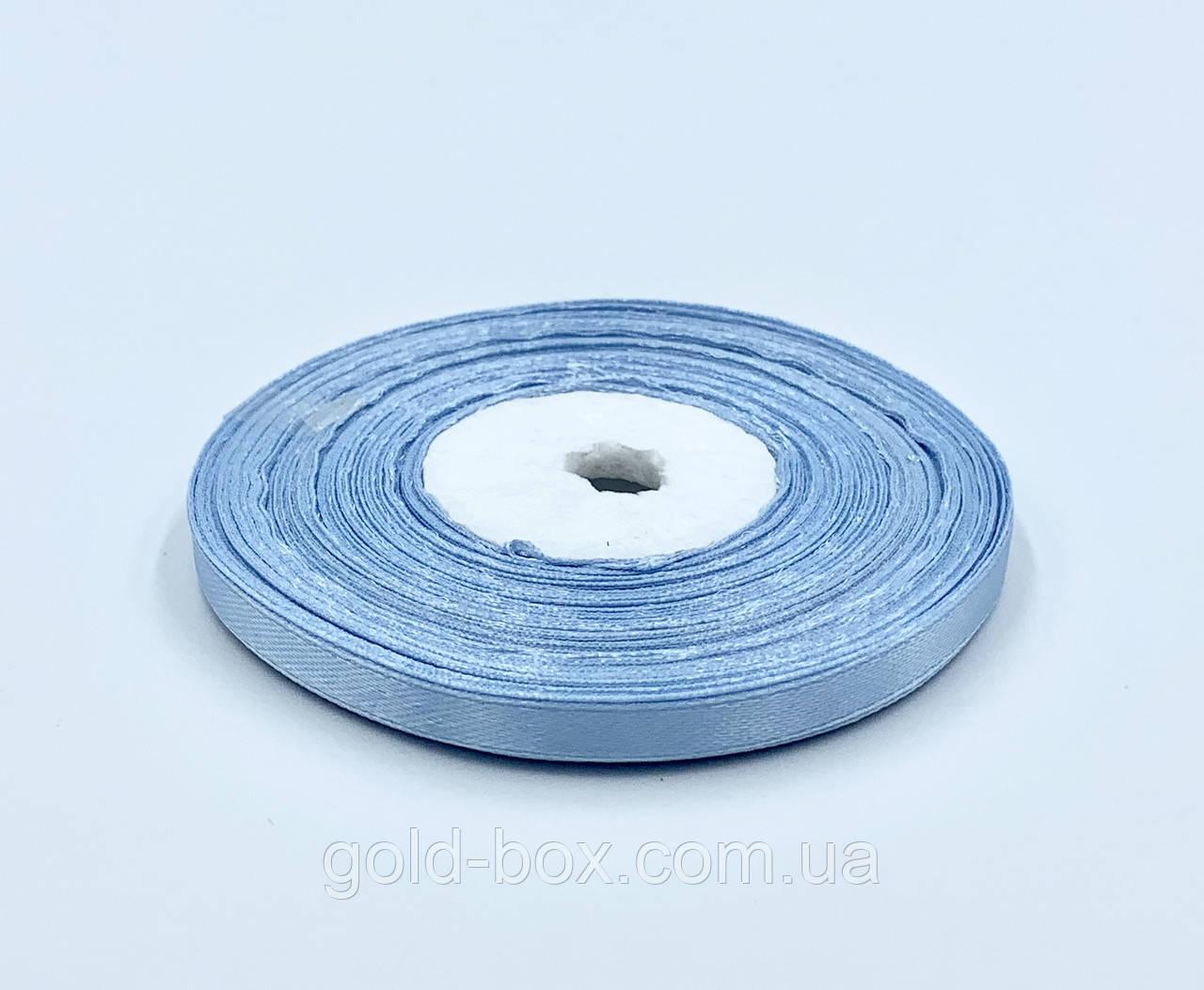 Лента атласная 0,5см / 33метра небесно-голубая
