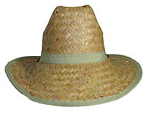 """Шляпа соломенная """"Ковбойка"""" с широкими полями из крупной соломки"""