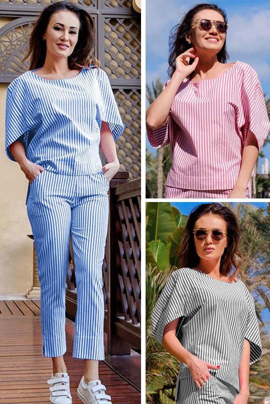 Жіноча блузка в смужку Фріда, 3 кольори