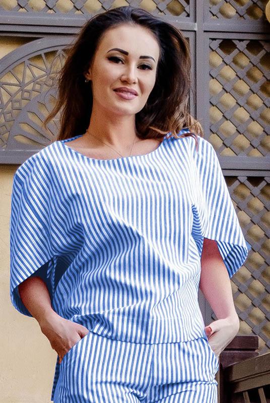 Женская блузка  Фрида в полоску, голубая