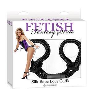 SILK ROPE LOVE CUFFS FETISH FANTASY BLACK