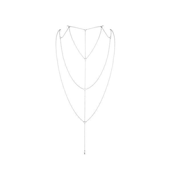 Украшение сексуальное для спины и декольте Bijoux Indiscrets Magnifique Back and Cleavage Chain - Silver Серебро. Интимные украшения