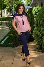 Женский костюм с укороченными брюками Креп дайвинг Размер 50 52 54 56 58 60 В наличии 4 цвета
