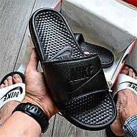 Мужские сланцы Nike Tanjun Sandal Flip-Flops JUST DO IT  тапочки летние черные. Живое фото (Реплика ААА+)