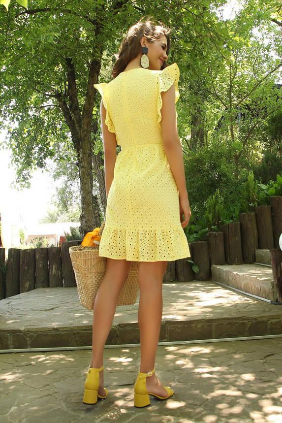 Летнее желтое платье из прошвы с рюшами, фото 2