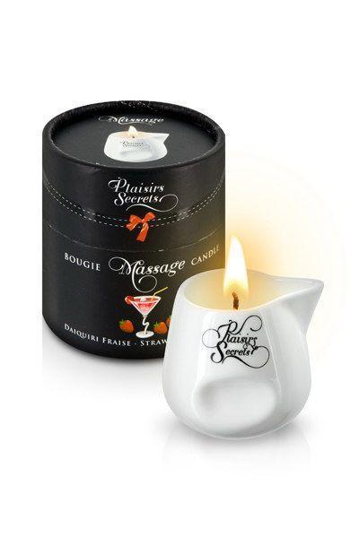 Массажная свеча Plaisirs Secrets Strawberry Daiquiri Клубничный дайкири (80 мл). Свечи для массажа