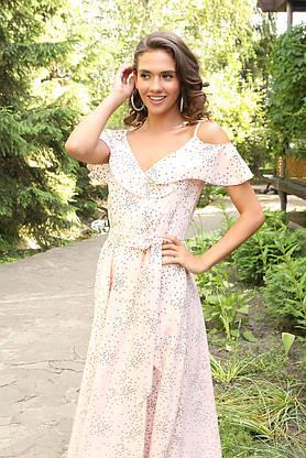 Летнее платье-сарафан длинное с запахом розовое, фото 3