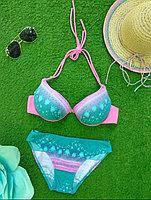 Стильный женский купальник халтер с чашечками Push Up на косточках