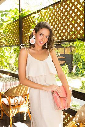 Летнее платье-сарафан льняное в полоску бежевое, фото 3