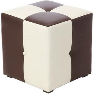 Пуф Рубио-1 (коричнево-белый),пуфик,пуфики,пуф кожзам,пуф экокожа,банкетка,банкетки,пуф куб,пуф фото