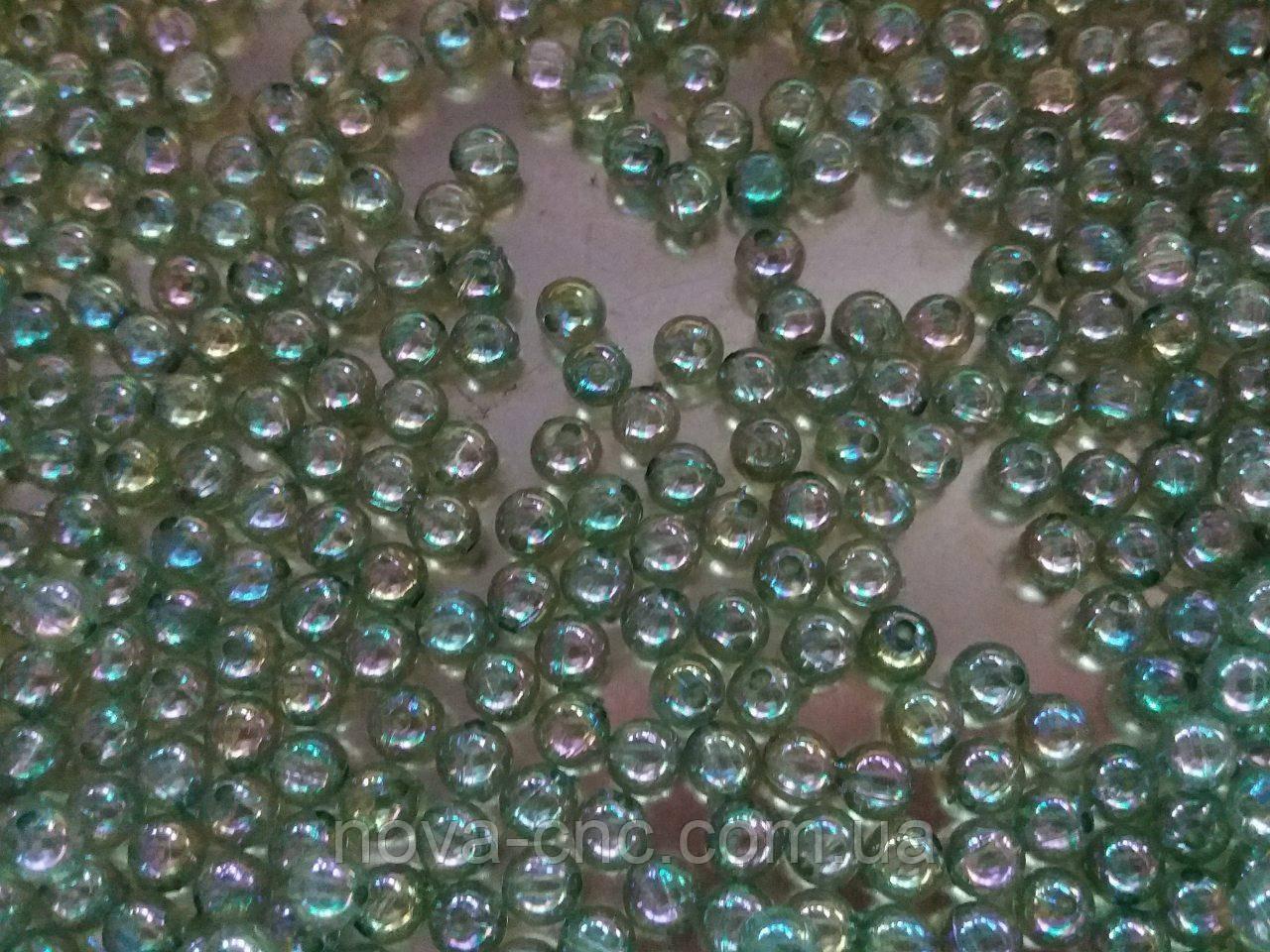"""Бусины """"шар бензин"""" зеленый 5 мм 500 грамм"""