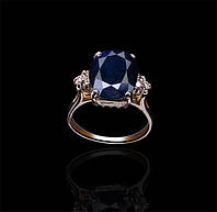 Золотое кольцо с сапфиром и бриллиантами Гелеос-8 размер 19 С18Л322, КОД: 957835