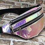 Женская сумка на пояс, бананка, поясная сумка, барыжка голографическая, фото 4