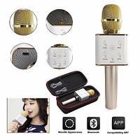 Микрофон-колонка караоке Q7 с чехлом (2 динамика + USB + Bluetooth)