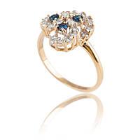 Золотое кольцо с сапфирами и бриллиантами Гелеос-8 размер 18 С13Л16, КОД: 957812