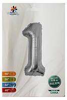 Фольга цифра №1 - 80см серебро для гелия