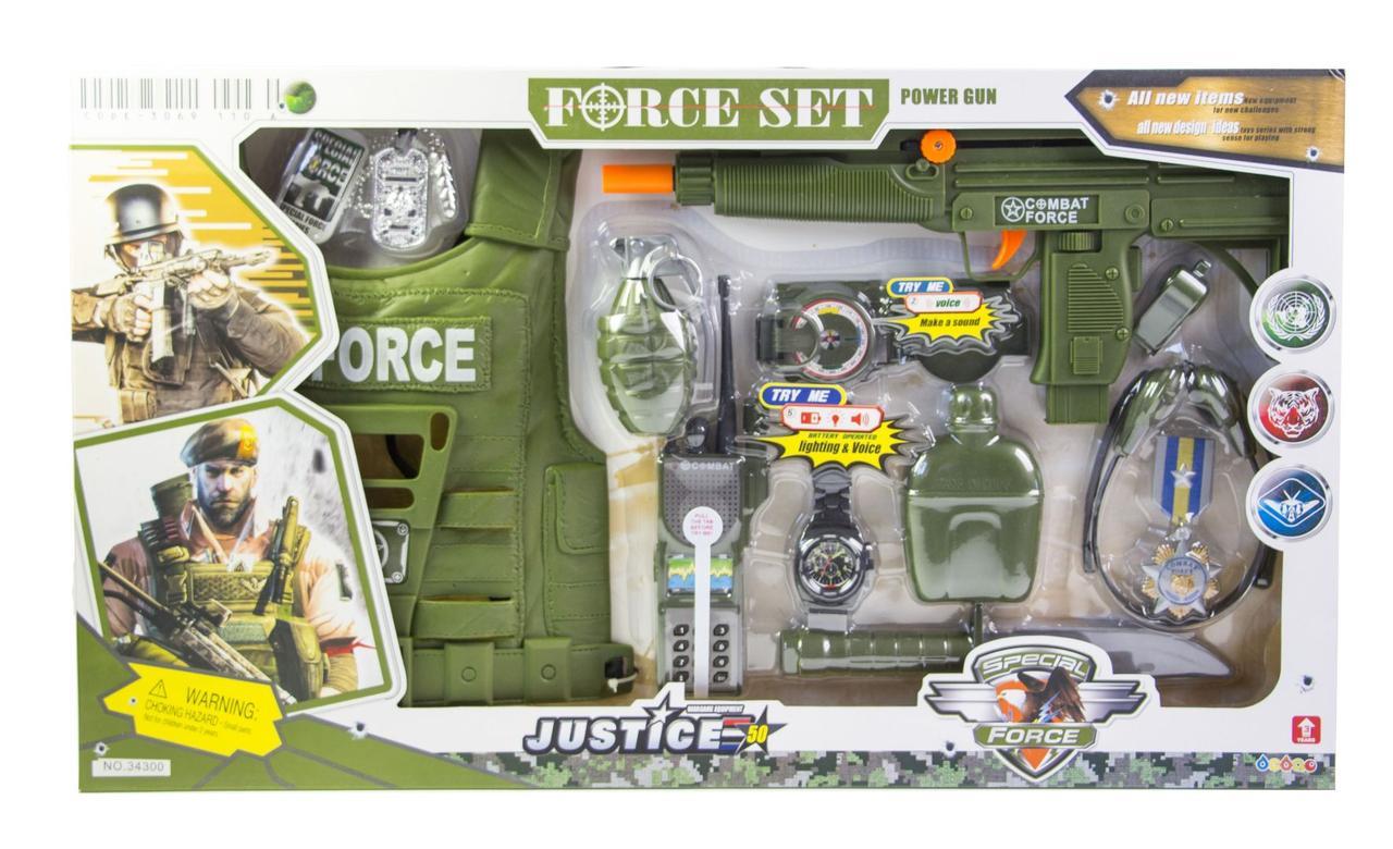 Детский набор военный спецназ с бронежилетом 34300