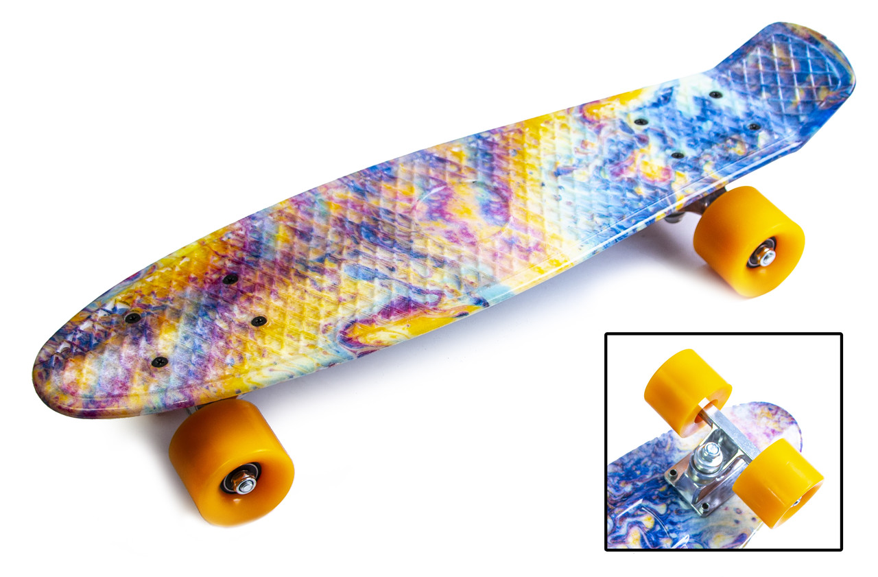 Скейт Penny Board разноцветный светящиеся колеса