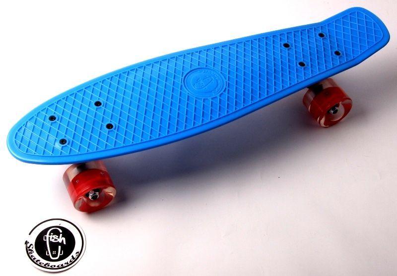 """Скейт Penny Board """"Fish"""" Синий цвет. Светящиеся колеса."""
