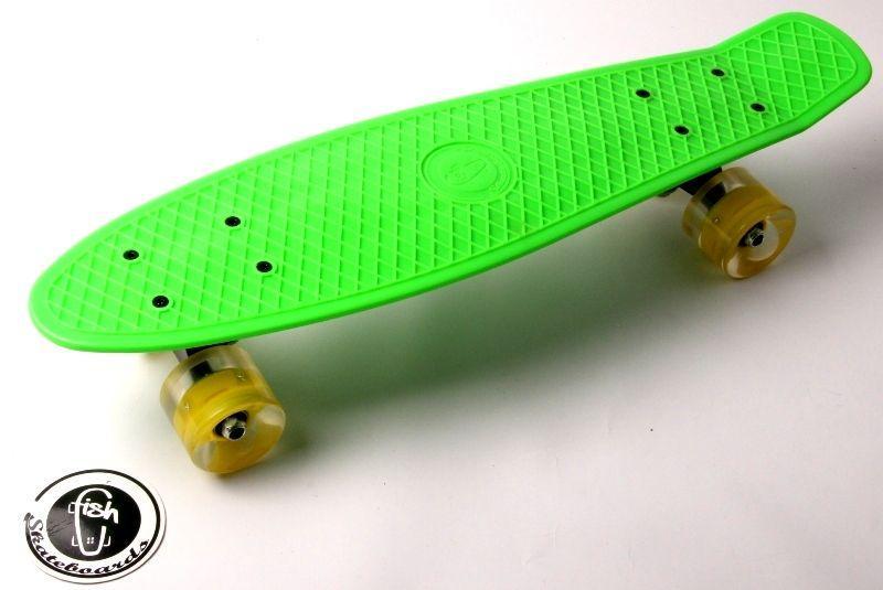 """Penny Board """"Fish"""" Салатовый цвет. Светящиеся колеса."""