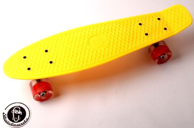 """Penny Board """"Fish"""" Желтый цвет. Светящиеся колеса."""