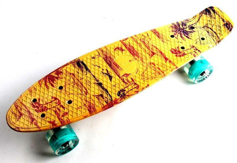"""Скейт Penny Board """"Fish"""" Palm 2. Светящиеся колеса."""