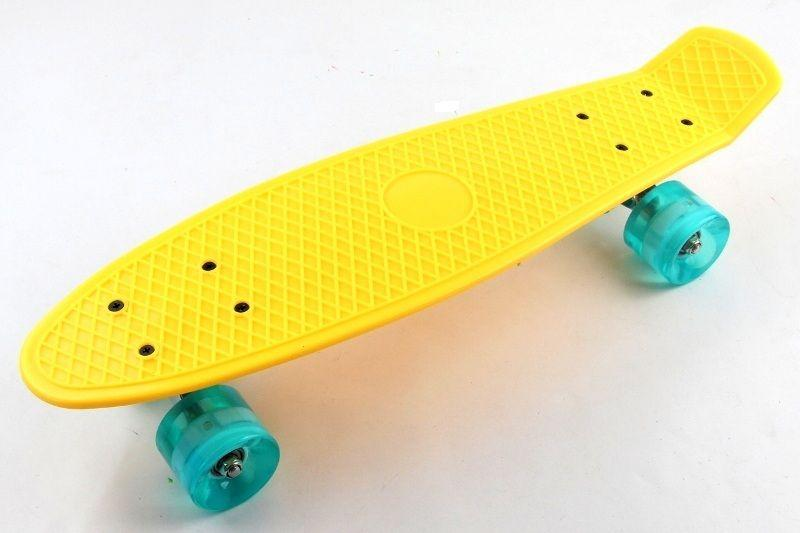 Скейт Penny Board Yellow Светящиеся колеса